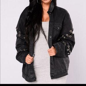 Fashion Nova ripped denim jacket